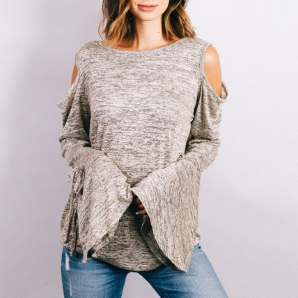 Boutique Tops - NEW! Heathered Cold Shoulder Bell Sleeve